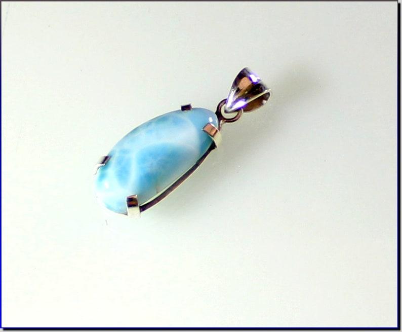 Exquisite Natural Sky Blue Larimar .925 Sterling Silver Pendant 38mm
