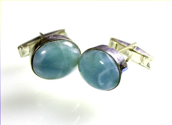 Excellent Natural Sky Blue Larimar .925 Sterling Silver Oval Cufflinks  17mm