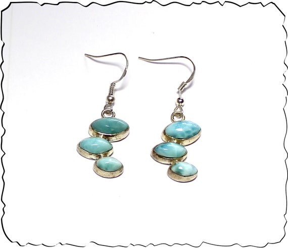 Lovely Natural Sky Blue Larimar .925 Sterling Silver Earrings 1.7inch
