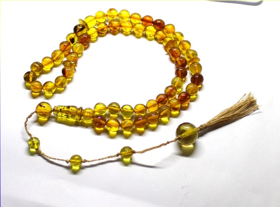 Natural Clear Yellow Red 55 Amber Misbaha,worry Beads Islamic Prayer Beads Komboli 9.5mm