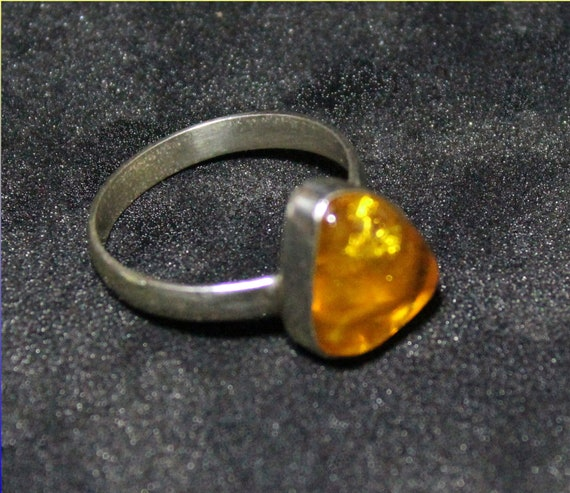 Dominican Natural Clear Yellow Amber .925 Sterling Silver Ring #8.5