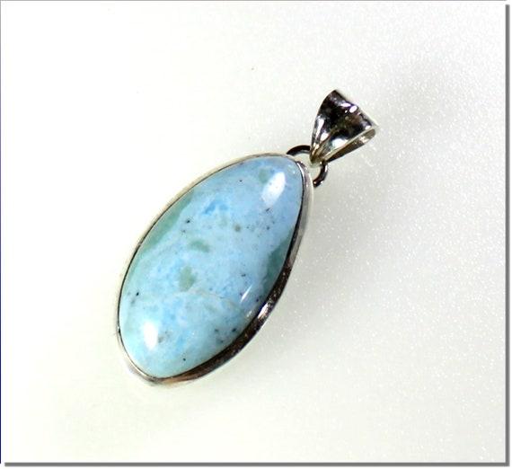 Biggest 1.9 inch Charming Design Natural Light Blue Larimar .925 Sterling Silver Pendant 48mm