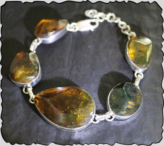 "Dominican Natural Clear Greenish Orange Amber .925 Sterling Silver Bracelet 7"" +ext"