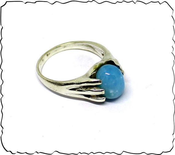 Exquisite Natural Volcanic Blue AAA++ Larimar .925 Sterling Silver Ring #8.5