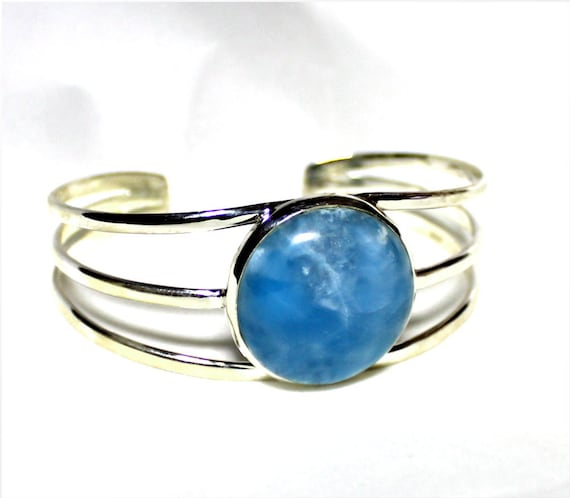 Exquisite Natural Genuine Volcanic Blue Larimar .925 Sterling Silver Bangle 6.5inch C-01-1822