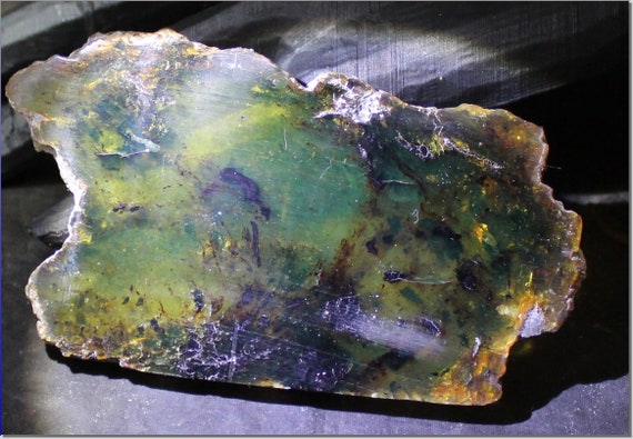 Biggest 4inch Dominican Natural Clear Yellow Green Amber Slab 100x55x8mm 33g