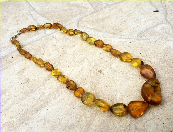 Dominican Natural Clear Green Red Amber .925 Sterling Silver Necklace  18.5inch
