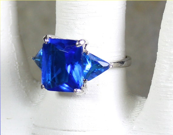 Exquisite Natural Royal Blue Topaz .925 Sterling Silver Ring #7