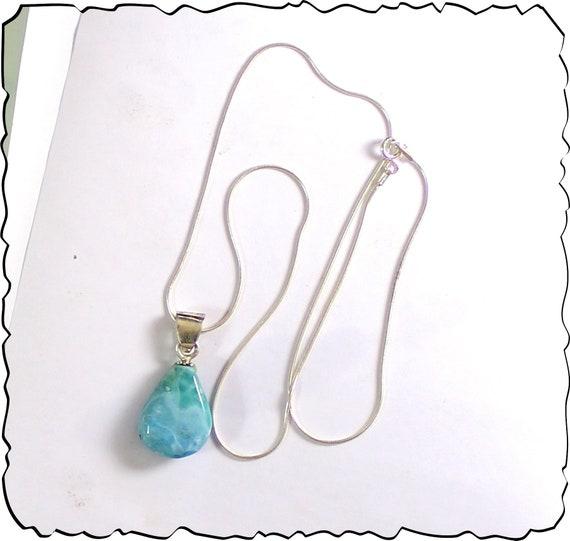 Impressive Natural Sky Blue Larimar .925 Sterling Silver Necklace 17.6inch