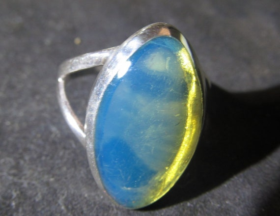 Premium Dominican Crystal Clear Sky Blue Amber .925 Sterling Silver Ring #6
