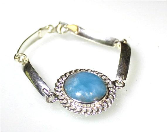 Impressive Natural Genuine Sky Blue Larimar .925 Sterling Silver Bracelet 7inch