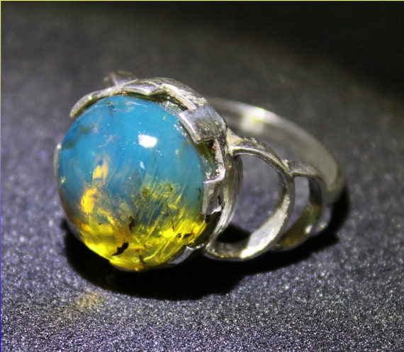 Outstanding Dominican Natural Clear Sky Blue Amber .925 Sterling Silver Ring #11