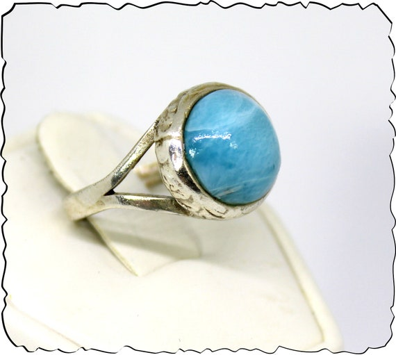 Excellent Natural Volcanic Blue AAA++ Larimar .925 Sterling Silver Ring #6.5 free resizing