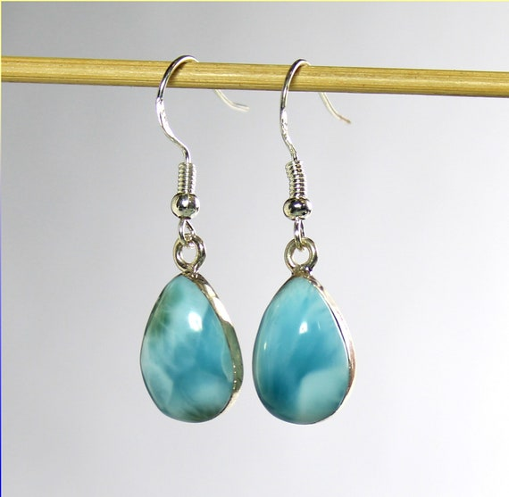 Splendid Natural Sky Blue Larimar .925 Sterling Silver Teardrop Dangle Earrings 1.5inch