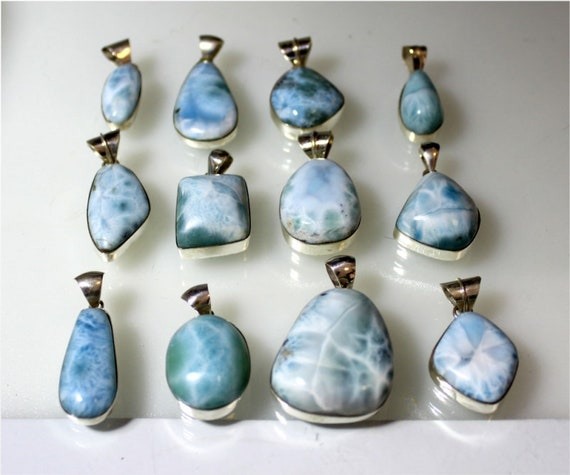 Wholesale Liquidation Lot 12 Blue Larimar .925 Sterling Silver Pendants 88 grams