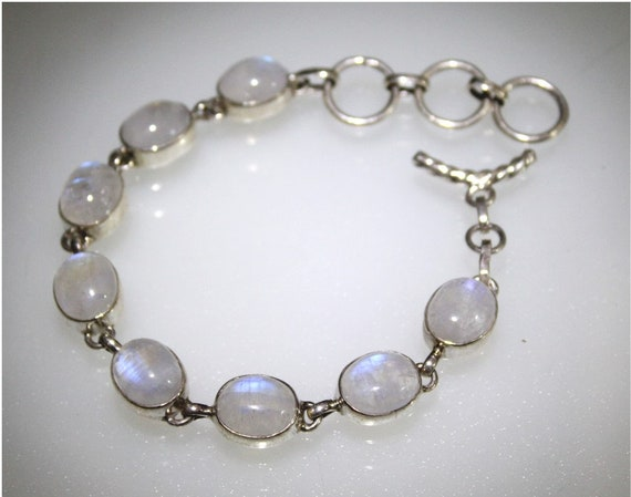 Exquisite Fire Natural Clear Light Purple Moonstone .925 Sterling Silver Bracelet 6.5inch +ext