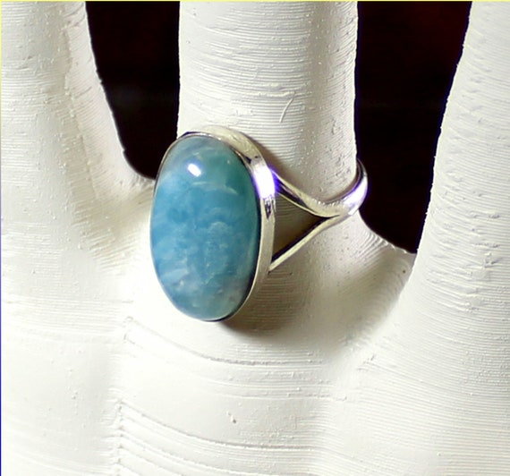 Lovely Natural Sky Blue Larimar .925 Sterling Silver Ring #7 .5
