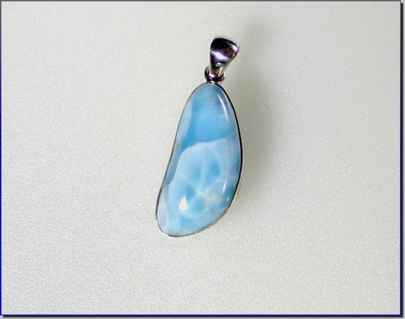 Impressive Natural Sky Blue Larimar .925 Sterling Silver Pendant 1.6inch