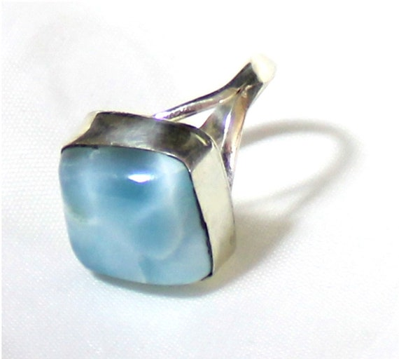 Exquisite Natural Deep Blue Larimar .925 Sterling Silver Ring #6