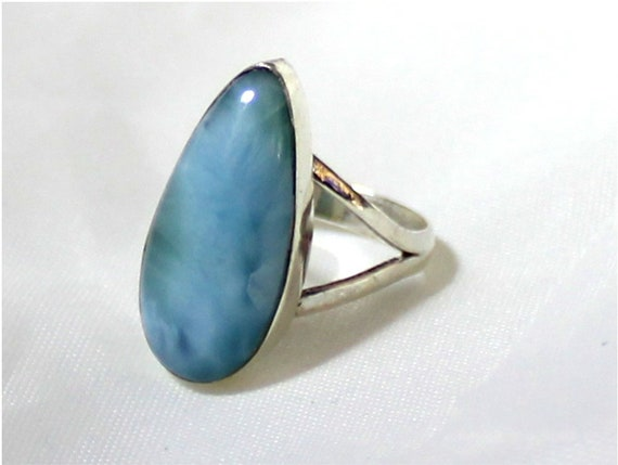 Charming Design Natural Deep Blue Larimar .925 Sterling Silver Ring #6
