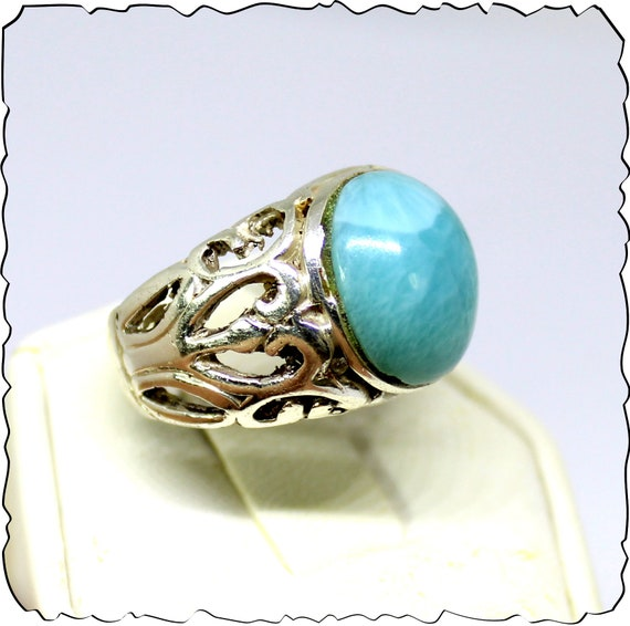 Splendid Natural Sky Blue Larimar .925 Sterling Silver Ring #8.5