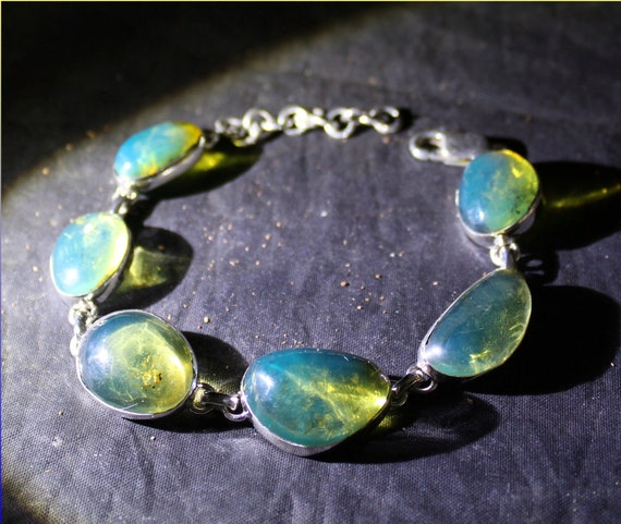 Dominican Natural Clear Yellow Blue Amber .925 Sterling Silver Bracelet 6.5inch +ext