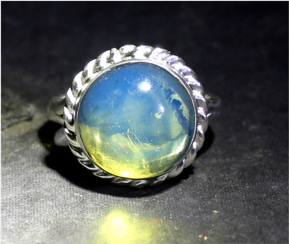 Dominican Natural Genuine Crystal Clear Sky Blue Amber .925 Sterling Silver Ring #8