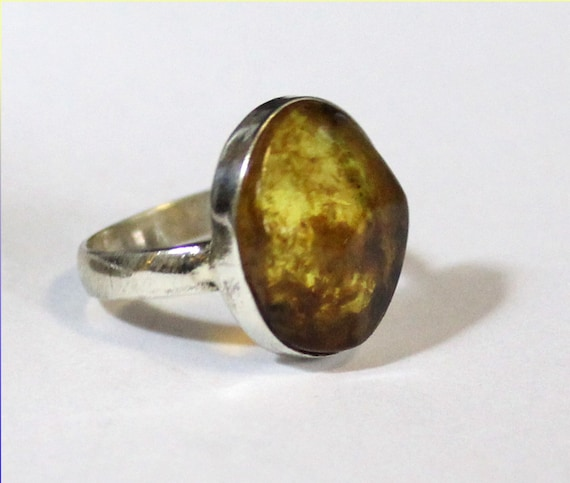 Faceted Dominican Natural Clear Orange Green Amber .925 Sterling Silver Ring #7.5