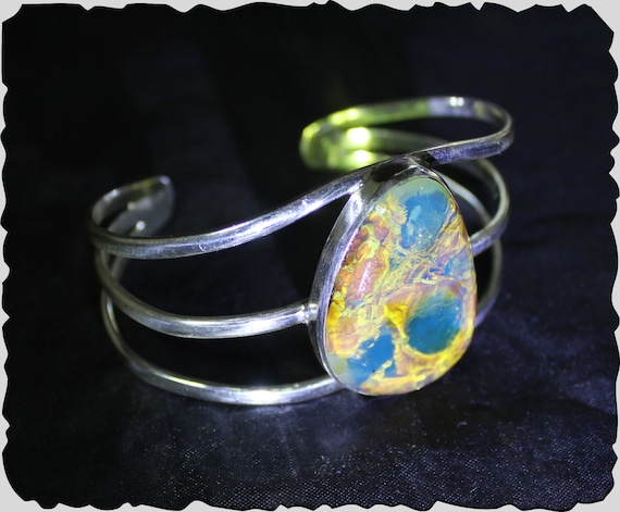 High Grade Dominican Natural Clear Sky Blue Amber .925 Sterling Silver Bangle 6.5inch