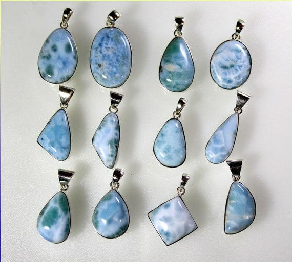 Wholesale Liquidation lot 12 Sky Blue Genuine Larimar .925 Sterling Silver Pendants 72.6 grams