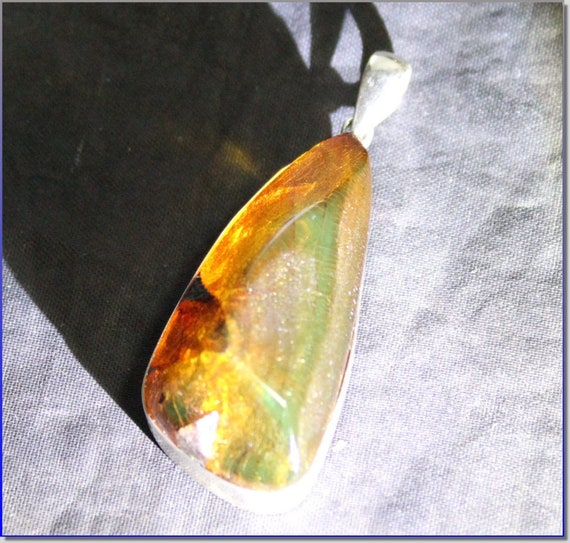 Biggest 2inch Dominican Natural Clear Orange Green Amber .925 Sterling Silver Pendant 51mm