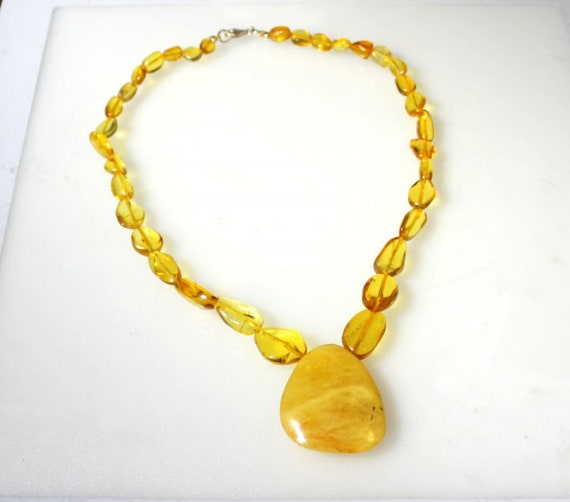 Dominican Natural Clear Orange Yellow Amber .925 Sterling Silver Necklace 18 inch