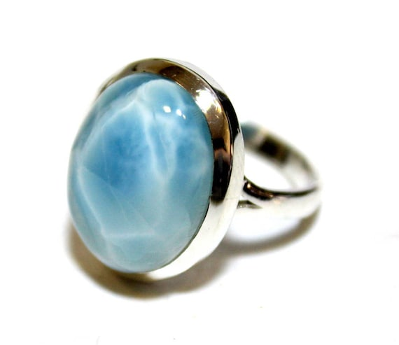 Charming Design Sky Blue AAA++ Larimar .925 Sterling Silver Ring #7.5  C-16-1770