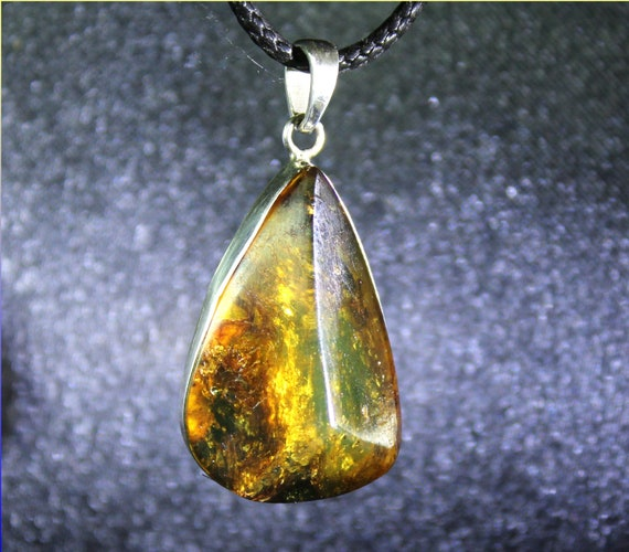 Dominican Natural Green Brown Amber .925 Sterling Silver Pendant 40mm