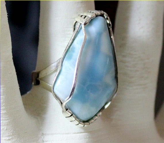 Excellent Handcrafted Natural Sky Blue Larimar .925 Sterling Silver Ring #7.5
