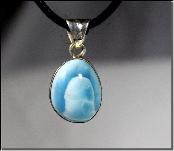 Excellent Natural Genuine Sky Blue Larimar .925 Sterling Silver Pendant 1.1 inch  C-80-1817