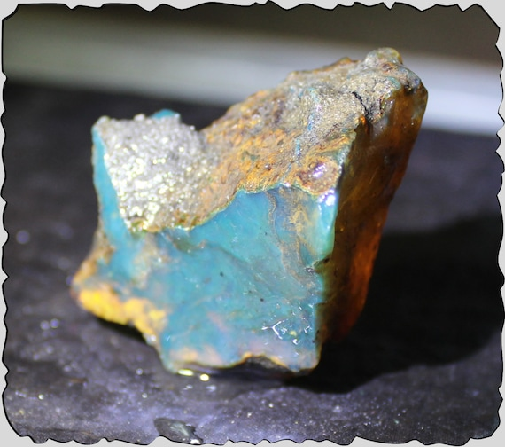 Excellent Dominican Natural Clear Ocean Blue Amber Rough Specimen  Stone 51x24x33mm 110cts