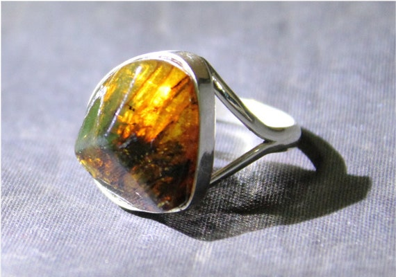 Dominican Natural Translucent Green-ish Yellow Amber .925 Sterling Silver Ring #6