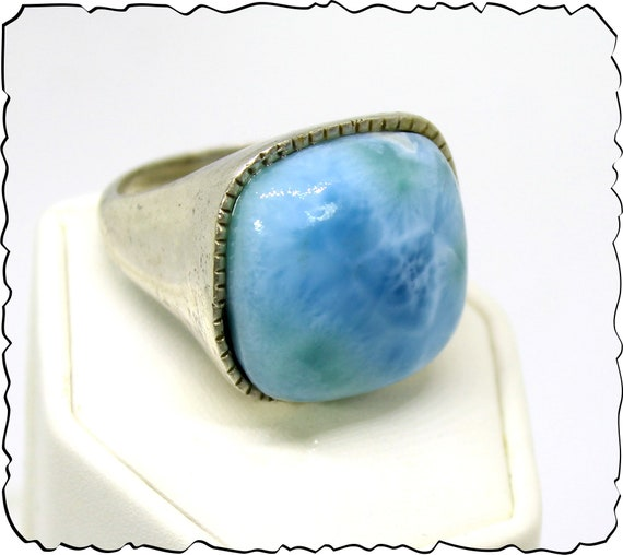 Exquisite Natural Sky Blue AAA++ Larimar .925 Sterling Silver Ring #9.5 for men, unisex