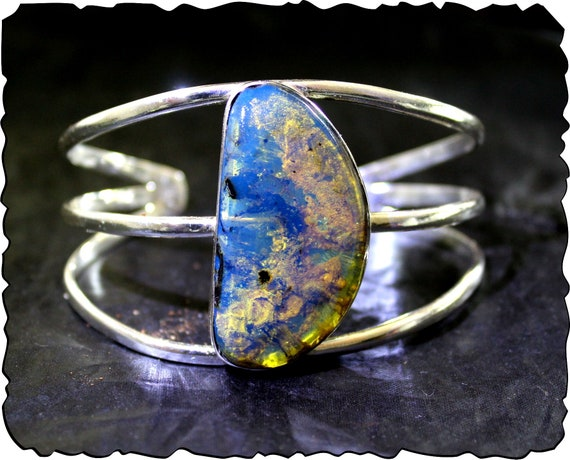 Exquisite Dominican Natural Clear Royal Blue Amber .925 Sterling Silver Cuff Bangle Bracelet 7.5inch