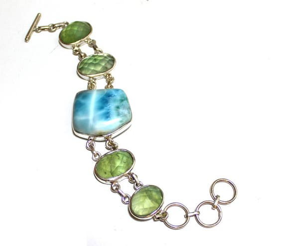 Exquisite Sky Blue Larimar Faceted Green Quartz .925 Sterling Silver Bracelet 6.5-8.5 inch   C-92-1788