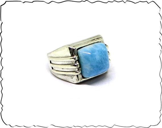 Exquisite Natural Sky Blue Larimar .925 Sterling Silver Ring #9  for men unisex