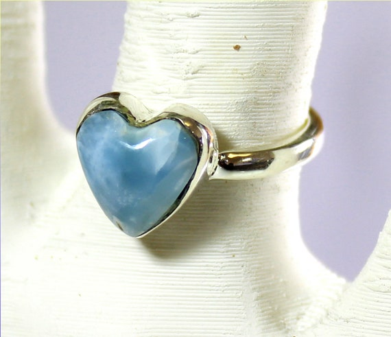Outstanding Natural Sky Blue Larimar .925 Sterling Silver Heart Ring #5.5