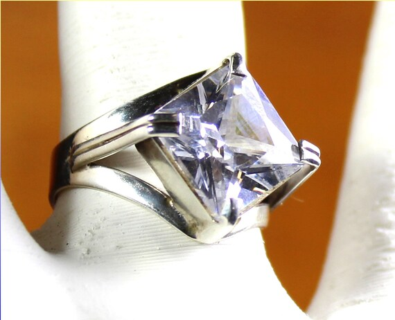 Impressive Transparent White Tourmaline .925 Sterling Silver Ring #6