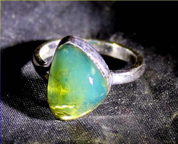 Impressive Natural Sky Blue Amber .925 Sterling Silver Ring #4.5