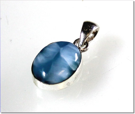 Magnificent Natural Volcanic Blue Larimar .925 Sterling Silver Pendant 23mm