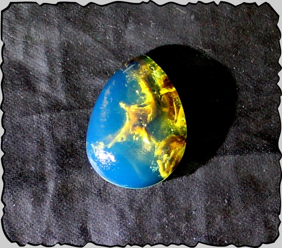 Rarest Inclusions Dominican Natural Clear Royal Blue Amber Cabochon 18x13x5mm
