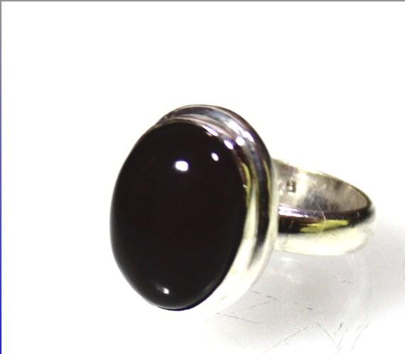 Excellent Natural Dark Red Jasper .925 Sterling Silver Ring  #7.5