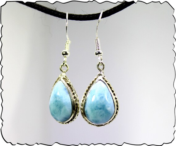 Charming Design Natural Sky Blue Larimar .925 Sterling Silver Dangle Earrings 1.6inch