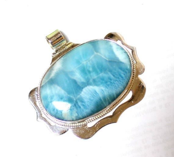 Outstanding 2.1 inch Volcanic Blue AAA++ Larimar .925 Sterling Silver Pendant 55mm 40g C-61-1761